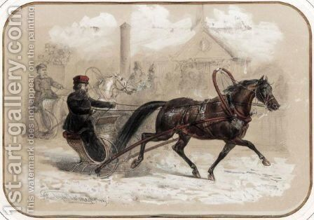 Horse-Drawn Sleigh by Adolphe Charlemagne - Reproduction Oil Painting