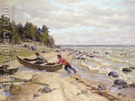 Volga Fishermen by (after) Sergey Arsenievich Vinogradov - Reproduction Oil Painting
