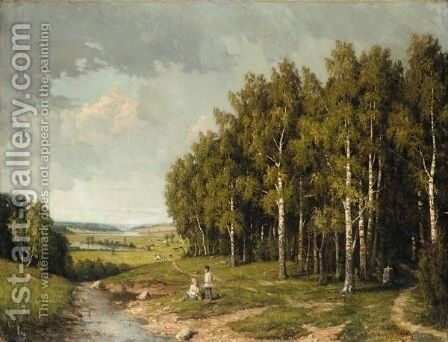 Boys By A Stream by (after) Alexander Alexandrovich Kiselev - Reproduction Oil Painting
