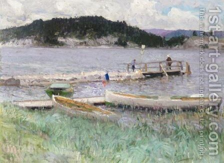 Sunday Afternoon On The Lake by Baron Mikhail Petrovich Klodt von Jurgensburg - Reproduction Oil Painting