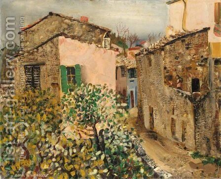 A Street In A Provincial French Town by Boris Dmitrievich Grigoriev - Reproduction Oil Painting