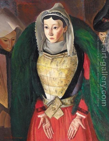 Breton Woman by Boris Dmitrievich Grigoriev - Reproduction Oil Painting