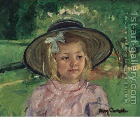 Little Girl In A Stiff, Round Hat, Looking To Right In A Sunny Garden by Mary Cassatt - Reproduction Oil Painting