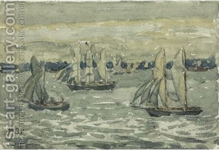 A Grey Day, Boston Harbor by Maurice Brazil Prendergast - Reproduction Oil Painting