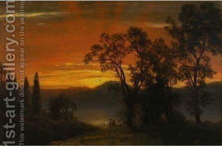 Sunset Over The River 2 by Albert Bierstadt - Reproduction Oil Painting