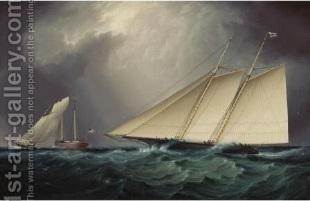 Columbia Vs. Livonia, Racing Off Sandy Hook by James E. Buttersworth - Reproduction Oil Painting