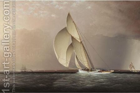 Yachts Racing Off Sandy Hook by James E. Buttersworth - Reproduction Oil Painting