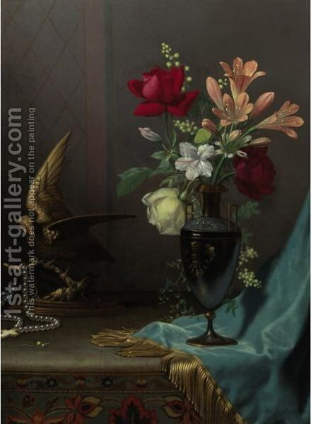 Vase Of Mixed Flowers With A Dove by Martin Johnson Heade - Reproduction Oil Painting