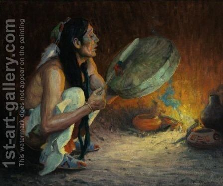 The Chant (The Tom Tom) by Eanger Irving Couse - Reproduction Oil Painting