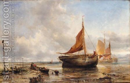 Ashore Near The Breakwater, Dollymount Strand, Dublin by Edwin Hayes - Reproduction Oil Painting