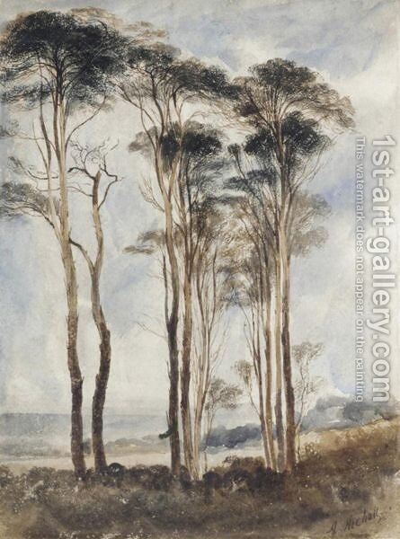 Scots Pines by Andrew Nicholl - Reproduction Oil Painting
