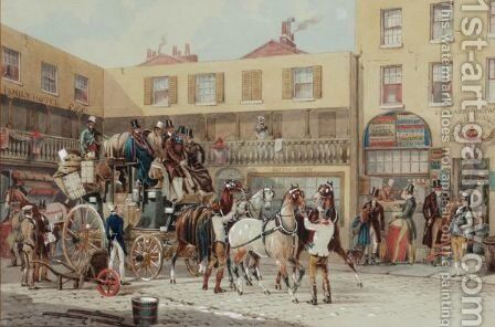 Coach And Horses Outside A Hotel In London by Charles Cooper Henderson - Reproduction Oil Painting