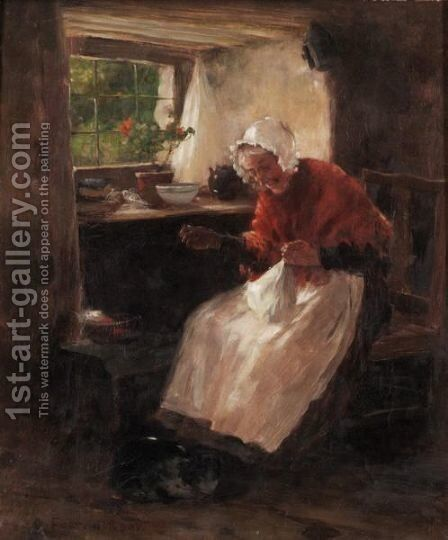 A Good Light For Sewing by David Fulton - Reproduction Oil Painting