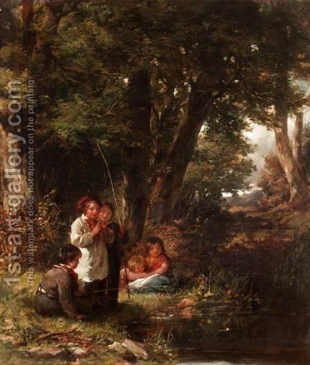 Children Angling by James Jackson Curnock - Reproduction Oil Painting