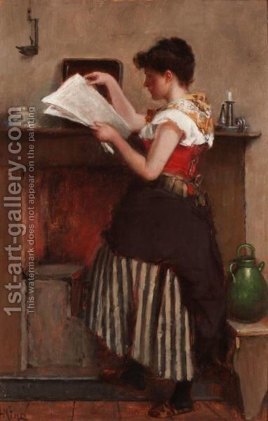 Examining The Gazette by Haynes King - Reproduction Oil Painting