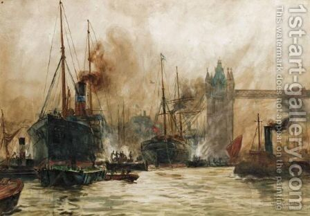The Pool Of London by (after) Charles Edward Dixon - Reproduction Oil Painting