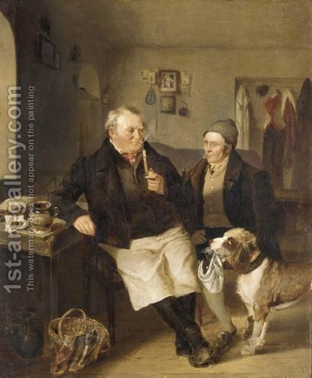 A Man's Best Friend by Johann Matthias Ranftl - Reproduction Oil Painting