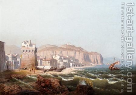 View Of An Italian Fortress, Possibly In Salerno by August Friedrich Wilhelm Nothnagel - Reproduction Oil Painting