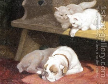 The Mischievous Kittens by Arthur Heyer - Reproduction Oil Painting