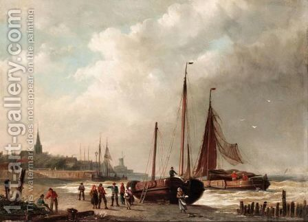 Unloading The Catch by Simon Van Der Ley - Reproduction Oil Painting