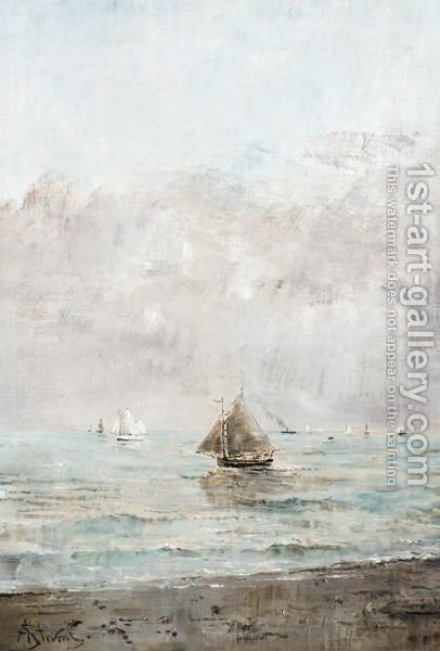 Sailing In Calm Waters by Alfred Stevens - Reproduction Oil Painting