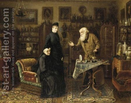 The Antique Dealer by Carl Johann Spielter - Reproduction Oil Painting