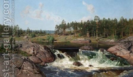 River Landscape by Alfred Thorne - Reproduction Oil Painting