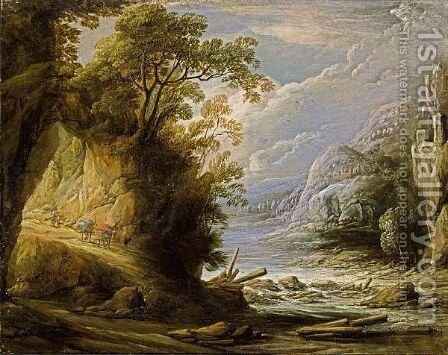 A Mountainous River Landscape With An Oriental Traveller And Donkeys On A Path by Jan van de Venne - Reproduction Oil Painting