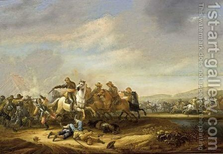 A Cavalry And Infantry Battle Scene Near A Stream by Abraham van der Hoef - Reproduction Oil Painting