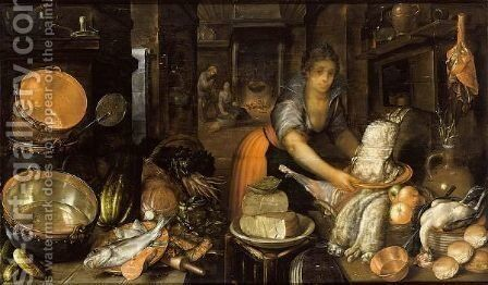 A Kitchen Still Life With Hares, Fowl, Bread And Fruit On A Table, Cheeses On A Plate On A Stool, Fish, Cabbages, Carrots And Other Vegetables, Copper Pans And Other Kitchen Utensils On Another Table, Together With A Maid Holding A Plate by Cornelis Jacobsz Delff - Reproduction Oil Painting