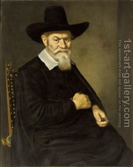 A Portrait Of A 67-Year Old Gentleman, Seated Half-Length, Wearing A Black Coat With A White Collar And A Hat, Holding A Seal-Stamp With A Coat-Of-Arms Of The City Of Amsterdam In His Left Hand by Hercules Sanders - Reproduction Oil Painting
