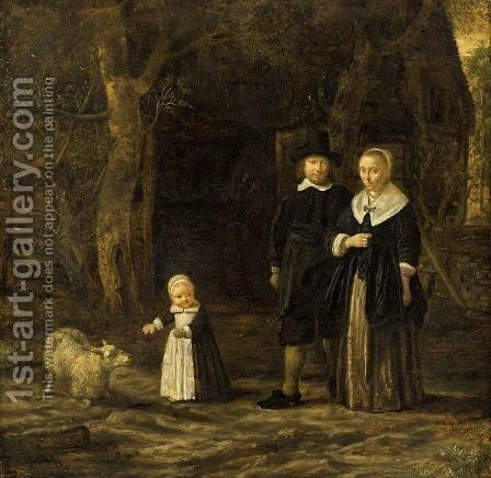 A Portrait Of An Elegant Couple, Standing Full-Length, With Their Child Playing With A Sheep, In A Garden Setting by Dutch School - Reproduction Oil Painting