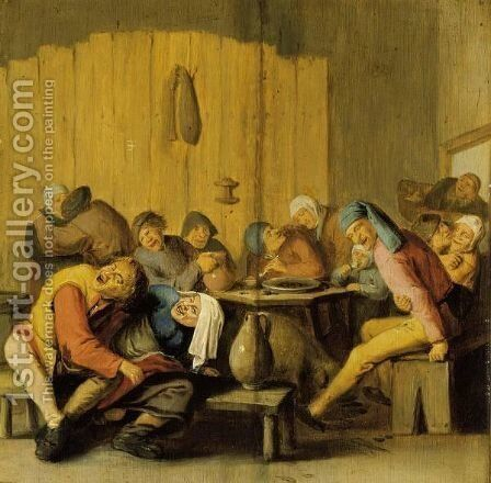Peasants Drinking And Making Merry In An Inn by Haarlem School - Reproduction Oil Painting