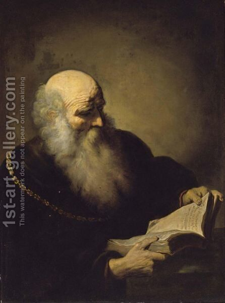 A Bearded Old Man Reading, Half Length, Wearing A Brown Coat And A Golden Chain by David de Koninck - Reproduction Oil Painting