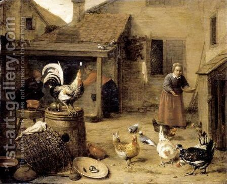 A Court With A Maid Feeding Hens And A Cockerel Perched Upon A Wooden Barrel by Hendrick Maertensz. Sorch (see Sorgh) - Reproduction Oil Painting