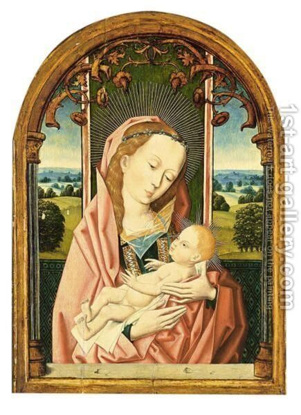 The Virgin And Child Enthroned Within A Feigned Window Before A Landscape by (after) Rogier Van Der Weyden - Reproduction Oil Painting