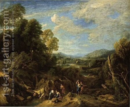 An Extensive River Landscape With Classical Figures Conversing And Mountains Beyond by Jan Baptist Huysmans - Reproduction Oil Painting
