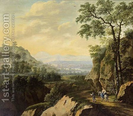 An Extensive Mountainous River Landscape With Shepherds On A Path by Simon Duarte - Reproduction Oil Painting