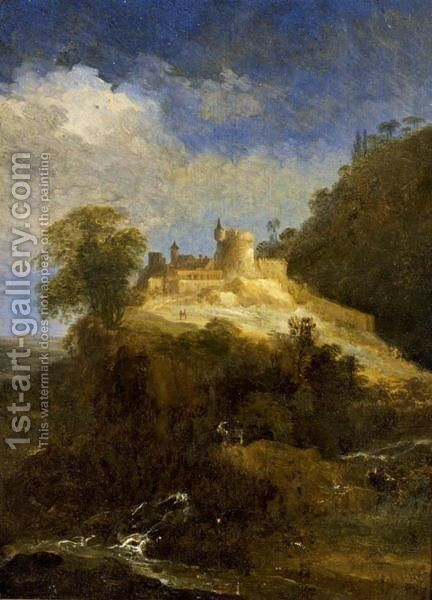 A Mountainous Landscape With A Goat Near A Stream And Travellers On A Path Towards A Castle by Adriaen Van Diest - Reproduction Oil Painting
