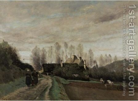Epernon (Eure-Et-Loir) La Route Au Laboureur by Jean-Baptiste-Camille Corot - Reproduction Oil Painting
