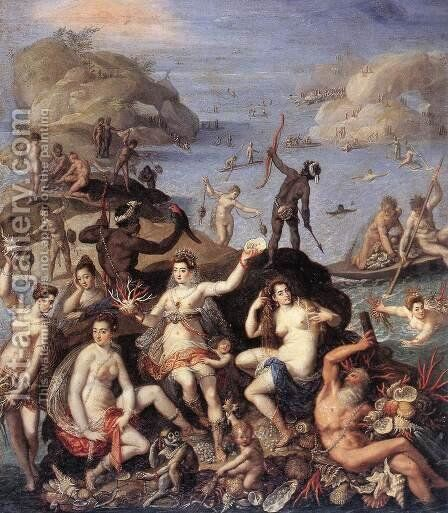 The Coral Fishers c. 1585 by Jacopo Zucchi - Reproduction Oil Painting