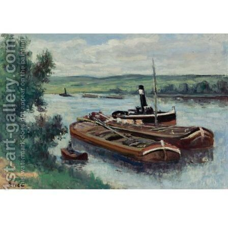 Vapeur Et Peniches Sur La Seine A Mericourt by Maximilien Luce - Reproduction Oil Painting