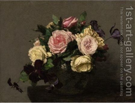 Roses Et Clematites by Ignace Henri Jean Fantin-Latour - Reproduction Oil Painting
