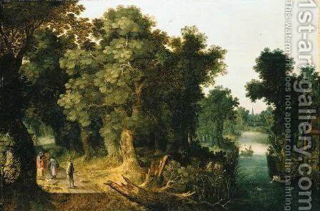 A Wooded River Landscape With Figures On A Path And Fishermen On A Rowing Boat by (after) Abraham Govaerts - Reproduction Oil Painting