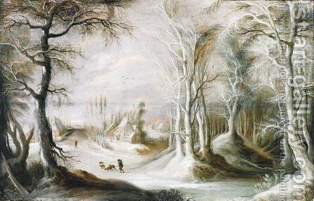 A Winter Landscape With A Peasant Walking Through Snow, A Small Village In The Background by Gysbrecht Leytens - Reproduction Oil Painting