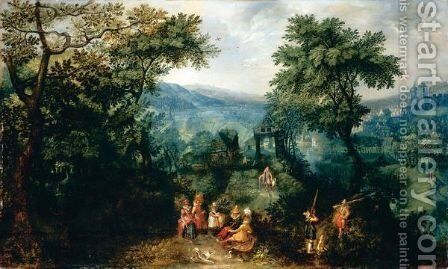 An Extensive Landscape With Elegant Figures Shooting And Promenading Beside A River, A Village And Chateau Beyond by (after) David Vinckboons - Reproduction Oil Painting
