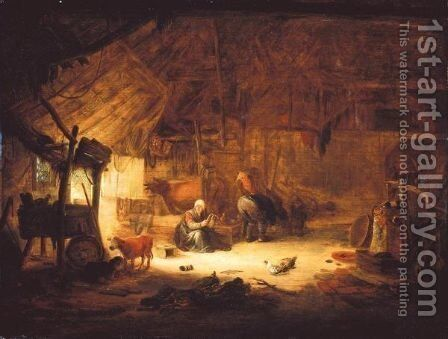 The Interior Of A Barn With Figures And Animals by Isaack Jansz. van Ostade - Reproduction Oil Painting