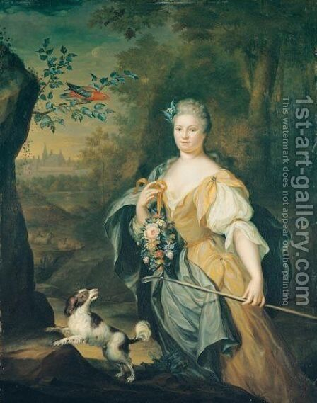 Portrait Of A Lady, Three-Quarter Length, Standing In A Wooded Landscape With A Spaniel And A Perroquet In A Tree Nearby by Hieronymus Van Der Mij - Reproduction Oil Painting
