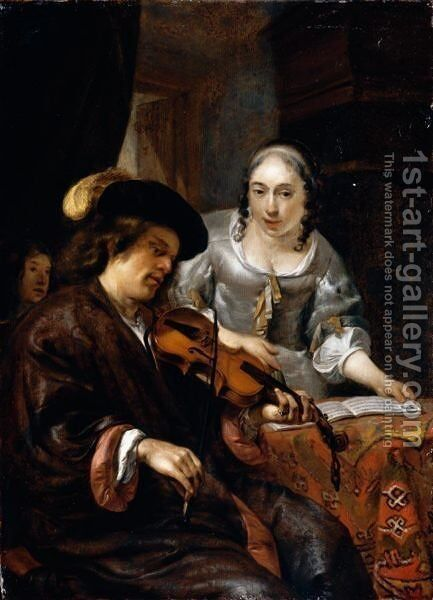 An Interior With A Man Playing The Violin And A Woman Singing by Hendrick Verschuring - Reproduction Oil Painting