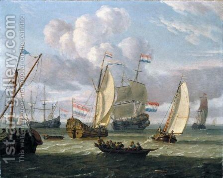 A Dutch States Yacht And Other Shipping In An Estuary by (after) Abraham Storck - Reproduction Oil Painting